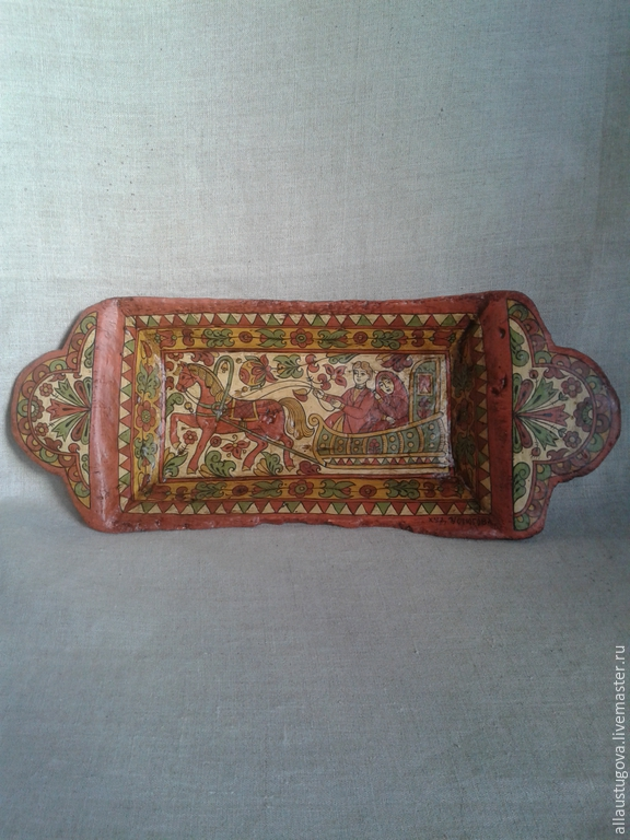 Dish 'riding the sleigh', Ware in the Russian style, Zaraysk,  Фото №1