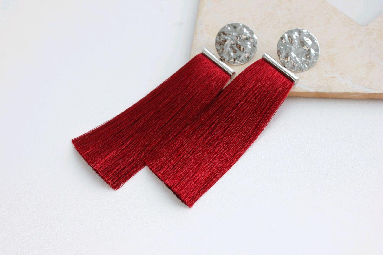 Red earrings with tassels, Tassel earrings, Ufa,  Фото №1