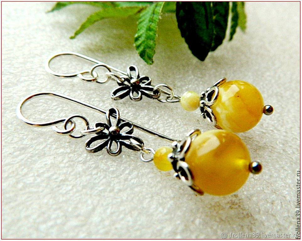 Earrings 'Yellow Orchid' amber silver, Earrings, Moscow,  Фото №1