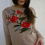 """Одежда ручной работы. Ярмарка Мастеров - ручная работа Джемпер с вышивкой """"Городские цветы"""".. Handmade."""