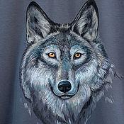 Футболки ручной работы. Ярмарка Мастеров - ручная работа Футболка мужская Волк. Handmade.
