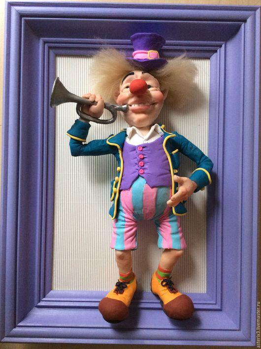 """Детская ручной работы. Ярмарка Мастеров - ручная работа. Купить Кукла  в раме""""Клоун с трубой"""". Handmade. Авторская кукла, оригинальный подарок"""