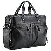 """Сумки и аксессуары handmade. Livemaster - original item Кожаная деловая сумка для командировок """"Бастилия"""" (чёрная). Handmade."""
