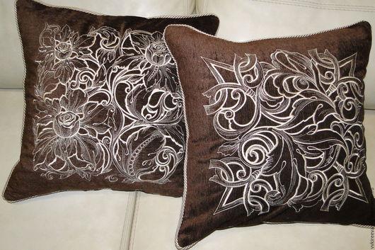 """Текстиль, ковры ручной работы. Ярмарка Мастеров - ручная работа. Купить Подушка """"Узоры"""". Handmade. Комбинированный, подушка декоративная, подарок"""