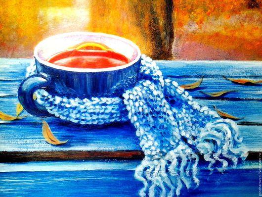 Натюрморт ручной работы. Ярмарка Мастеров - ручная работа. Купить Картина  Заходи на чай!. Handmade. Тёмно-синий, подарок мужчине