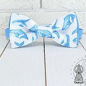 Галстуки ручной работы. Ярмарка Мастеров - ручная работа Бабочка галстук Китовый принт голубой, акварельные киты. Handmade.