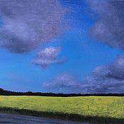 Картины и панно handmade. Livemaster - original item Oil painting blue yellow fields landscapes Siberia. Handmade.