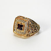 Украшения handmade. Livemaster - original item ring: Gold men`s ring with garnet. Handmade.