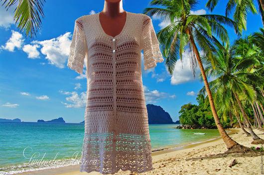 Пляжные платья ручной работы. Ярмарка Мастеров - ручная работа. Купить Пляжный халатик вязаный. Handmade. Белый