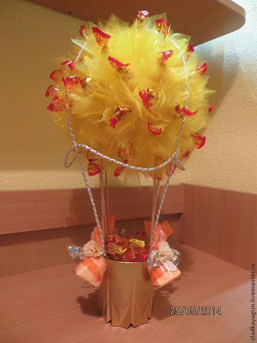 Персональные подарки ручной работы. Ярмарка Мастеров - ручная работа. Купить Воздушный шар. Handmade. Желтый, букет в подарок