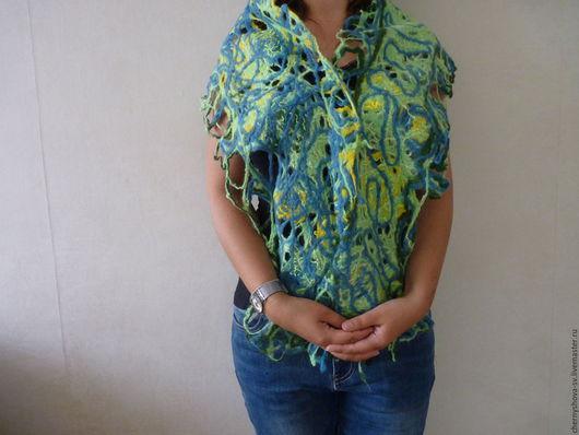 Шарфы и шарфики ручной работы. Ярмарка Мастеров - ручная работа. Купить Валяный шарф Прощание с летом. Handmade. Зеленый
