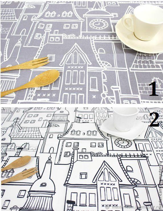 """Набор тканей хлопок Корея Оксфорд """"Городские крыши"""", Ткани, Краснодар,  Фото №1"""