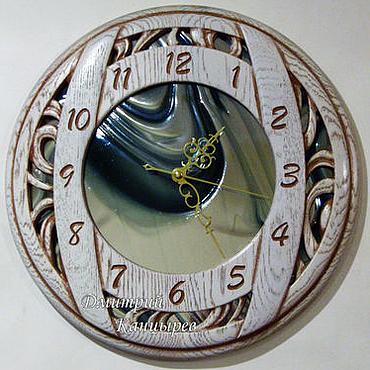 Для дома и интерьера ручной работы. Ярмарка Мастеров - ручная работа Часы настенные круглые с зеркальным стеклом белые. Handmade.