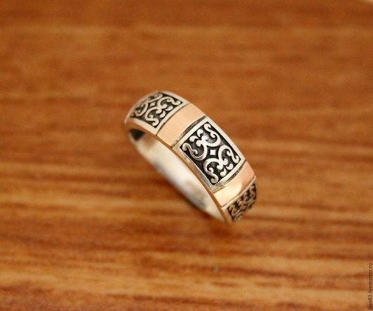 Кольца ручной работы. Ярмарка Мастеров - ручная работа. Купить Серебряное кольцо Поэзия с золотыми накладками, серебро 925. Handmade.