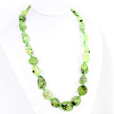 Decorations handmade. Livemaster - original item Necklace made of natural prenite (green garnet). Handmade.