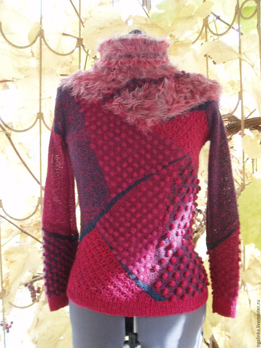 Кофты и свитера ручной работы. Ярмарка Мастеров - ручная работа. Купить свитер из мохера и шерсти Мозаика. Handmade. Комбинированный, шишечки