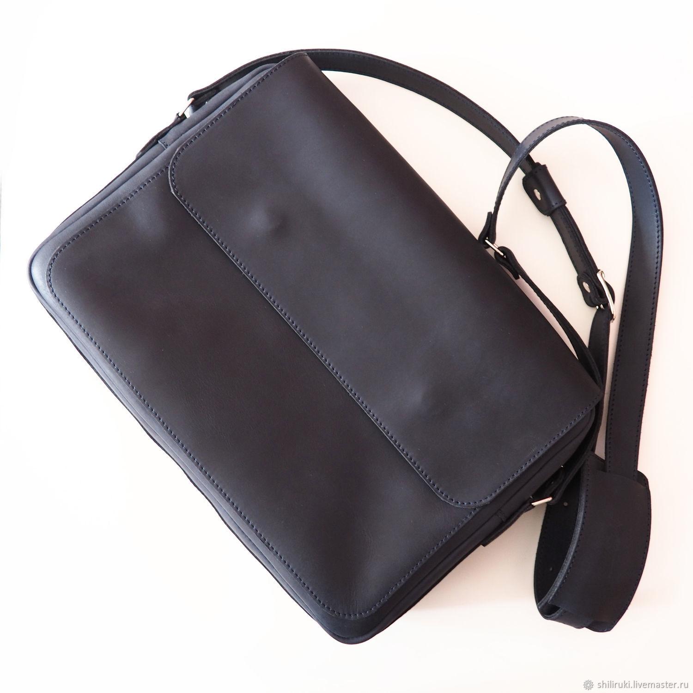 9ccee5a29d81 Купить Сумка мужская кожаная под Мужские сумки ручной работы. Сумка мужская  кожаная под А4. Чернично-синяя.