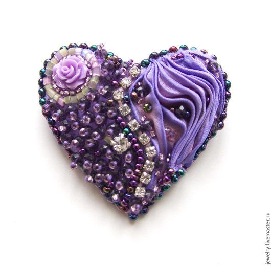 """Броши ручной работы. Ярмарка Мастеров - ручная работа. Купить Брошь """"Мое сердце"""" с лентой шибори. Handmade. Сиреневый, Бижутерия"""