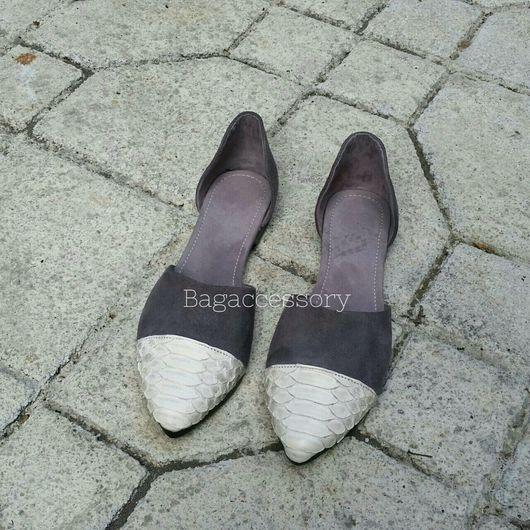 Обувь ручной работы. Ярмарка Мастеров - ручная работа. Купить Балетки из натуральной замши и кожи питона. Handmade. Балетки