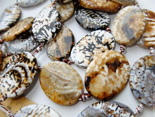 Для украшений ручной работы. Ярмарка Мастеров - ручная работа. Купить Агат тигровый крупные бусины нить. Handmade.