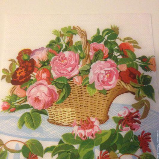 Салфетка для декупажа-Корзина с нежными цветами Декупажная радость