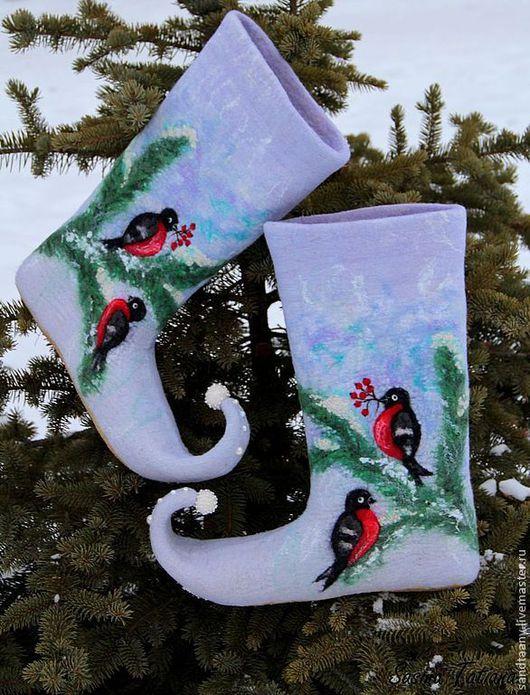 Обувь ручной работы. Ярмарка Мастеров - ручная работа. Купить Валенки для ДЕДа Мороза. Handmade. Серый, снегири, валенки