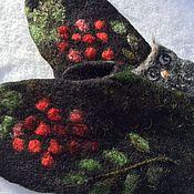 Аксессуары ручной работы. Ярмарка Мастеров - ручная работа варежки   с рябиной из шерсти Альпаки,  варежки для нежной кожи рук. Handmade.