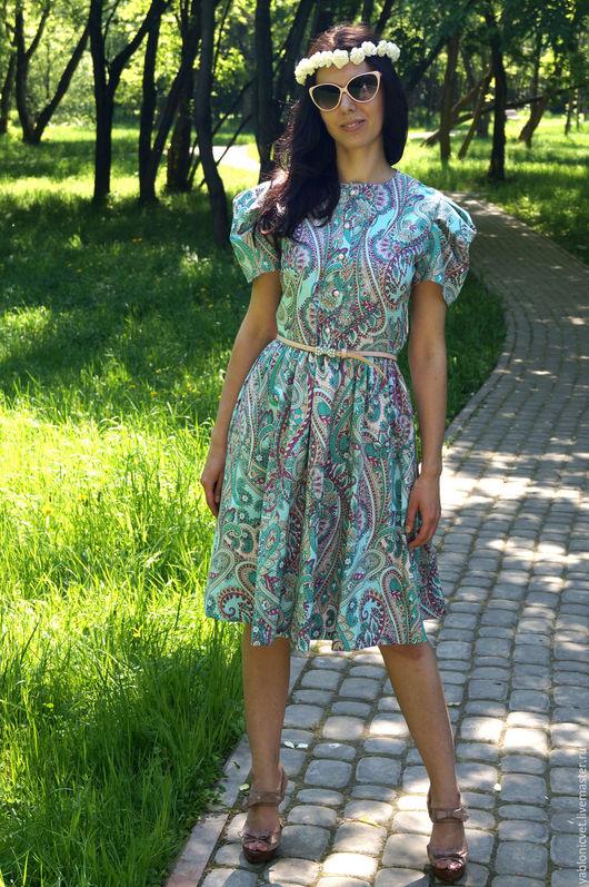 Платья ручной работы. Ярмарка Мастеров - ручная работа. Купить платье хлоповое. Handmade. Тёмно-бирюзовый, Платье нарядное