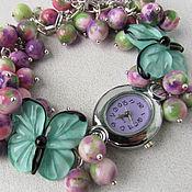 """Украшения ручной работы. Ярмарка Мастеров - ручная работа """"Дуэт"""" наручные часы с бусинами лэмпворк и турмалином. Handmade."""