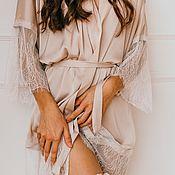 Халаты ручной работы. Ярмарка Мастеров - ручная работа Шелковый халат для дома и фотосессии утра невесты. Handmade.