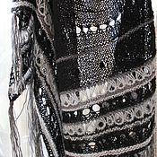 """Аксессуары ручной работы. Ярмарка Мастеров - ручная работа """"Чёрная жемчужина"""" Ажурная шаль из ангоры и мериноса. Handmade."""