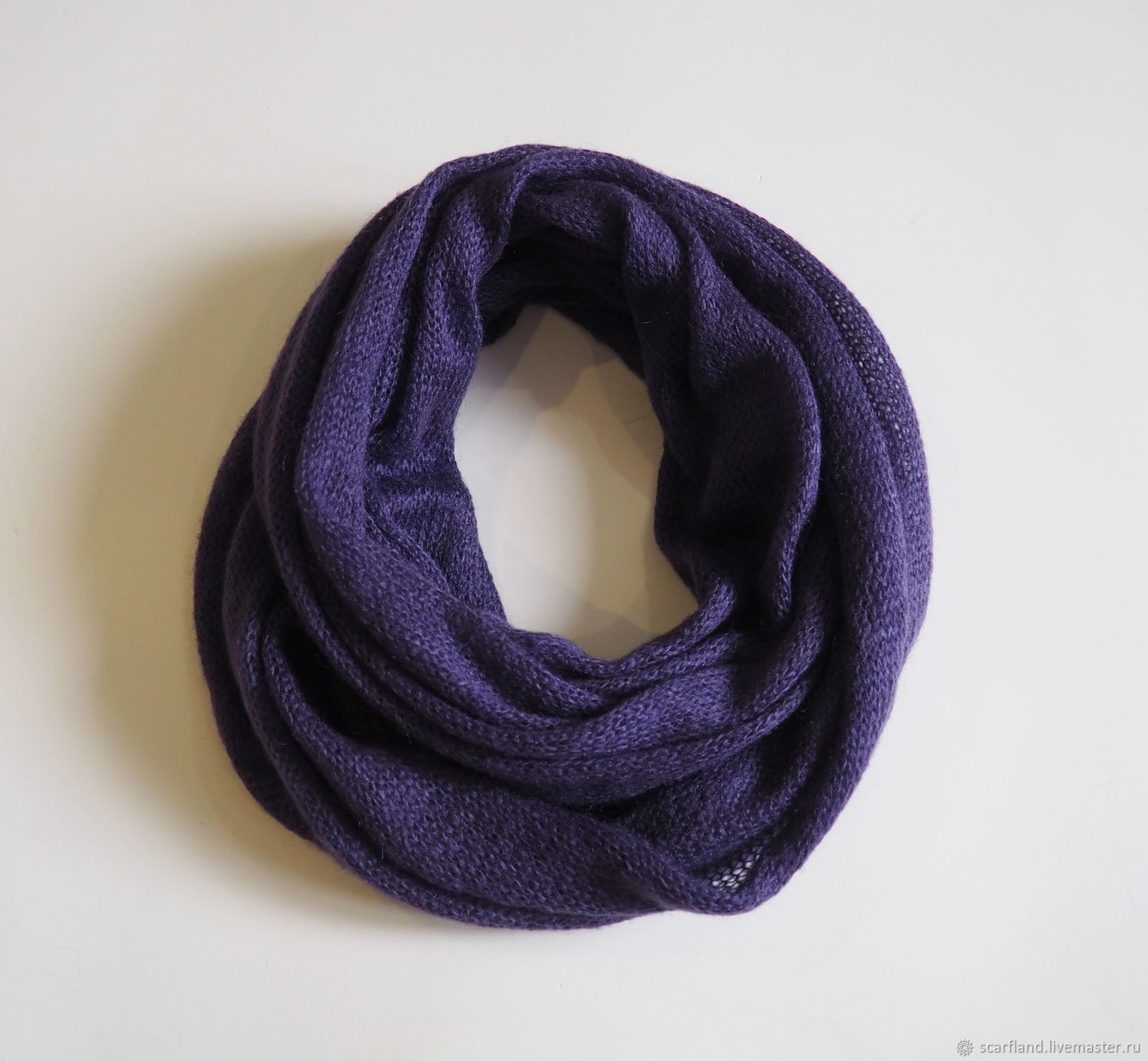 Snood knitted in two turns from kid mohair (purple), Snudy1, Cheboksary,  Фото №1