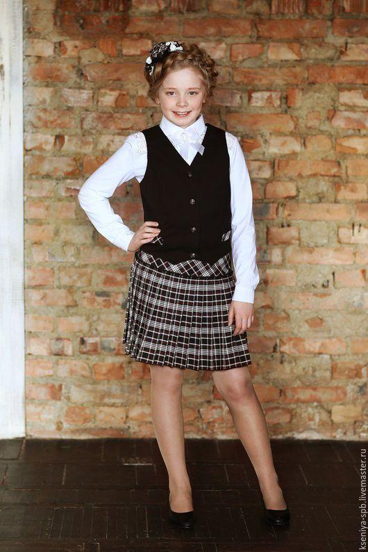 Для подростков, ручной работы. Ярмарка Мастеров - ручная работа. Купить Комплект школьная форма для девочки юбка и жилетка шотландка (№3). Handmade.