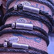 Браслет плетеный ручной работы. Ярмарка Мастеров - ручная работа Кожаный браслет в два оборота..Голландские плетёные шнуры.. Handmade.
