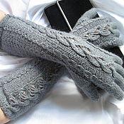 Аксессуары ручной работы. Ярмарка Мастеров - ручная работа Перчатки ажурные удлиненные серые осень зима тепло. Handmade.