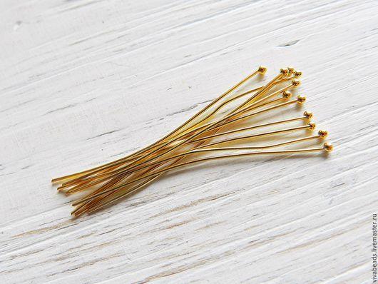 Пины с шариком, цвет - золото, материал - латунь, толщина проволоки 0,6 мм , размер 42 мм, диаметр шарика 1,5 мм (арт. 2217)