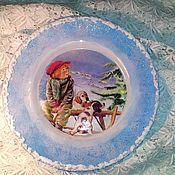 """Подарки к праздникам ручной работы. Ярмарка Мастеров - ручная работа """"Зимние утро"""" интерьерная тарелочка. Handmade."""