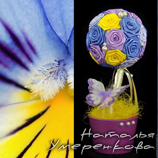 """Топиарии ручной работы. Ярмарка Мастеров - ручная работа. Купить Топиарий """" Белинда"""". Handmade. Фиолетовый, атласные ленты, не дорого"""