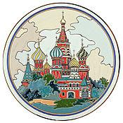 Plates handmade. Livemaster - original item Plate decorative of ceramic.40cm. St. Basil`s Cathedral. Handmade.