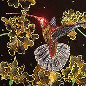 """Картины и панно ручной работы. Ярмарка Мастеров - ручная работа инкрустация стразами """"колибри"""". Handmade."""