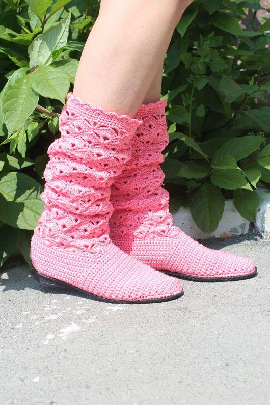 Обувь ручной работы. Ярмарка Мастеров - ручная работа. Купить Вязаные сапожки. Handmade. Вязаные сапожки, 100%мерсеризованный хлопок