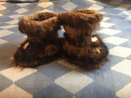 Носки, гольфы, гетры ручной работы. Ярмарка Мастеров - ручная работа. Купить Носочки -тапочки с мехом Норки. Handmade.