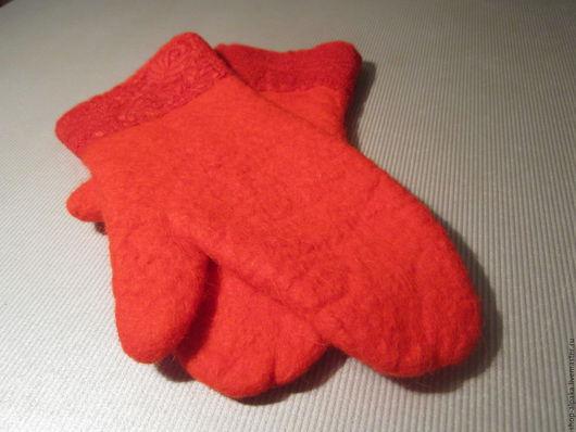 Варежки, митенки, перчатки ручной работы. Ярмарка Мастеров - ручная работа. Купить Валяные варежки из чистой шерсти. Handmade. Варежки