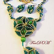 Украшения handmade. Livemaster - original item Beaded jewelry. Emerald luxury. Handmade.