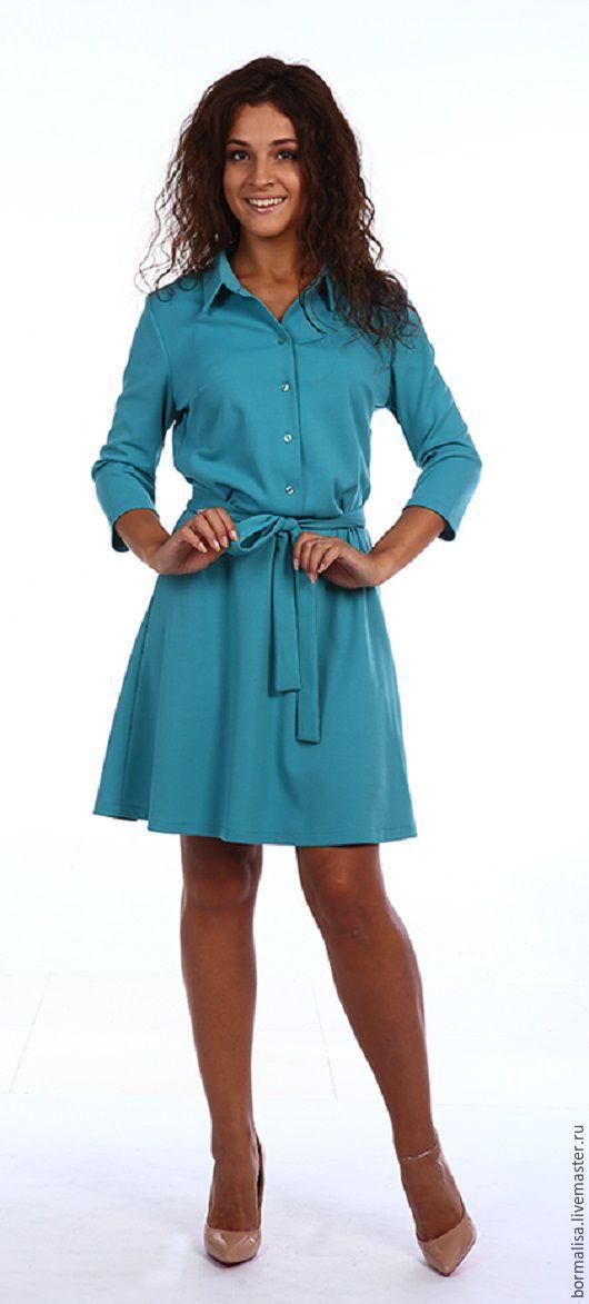 """Платья ручной работы. Ярмарка Мастеров - ручная работа. Купить Платье """"Constancia"""". Handmade. Морская волна, платье, платье офисное"""