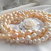 Украшения handmade. Livemaster - original item Necklace: white and peach pearls in five rows.. Handmade.