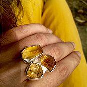 Украшения ручной работы. Ярмарка Мастеров - ручная работа Серебряное кольцо с неограненными цитринами. Handmade.