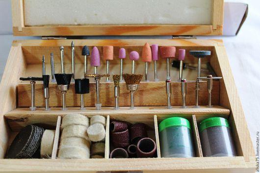 Для украшений ручной работы. Ярмарка Мастеров - ручная работа. Купить Набор насадок в деревянном футляре. Handmade. Насадки, для полировки
