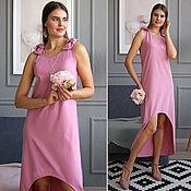 Одежда handmade. Livemaster - original item Pink sundress, long sundress, pink dress-cotton sundress. Handmade.