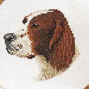 Для дома и интерьера ручной работы. Ярмарка Мастеров - ручная работа Время охоты собаки на подушке и салфетке с вышивкой и кружевной каймой. Handmade.